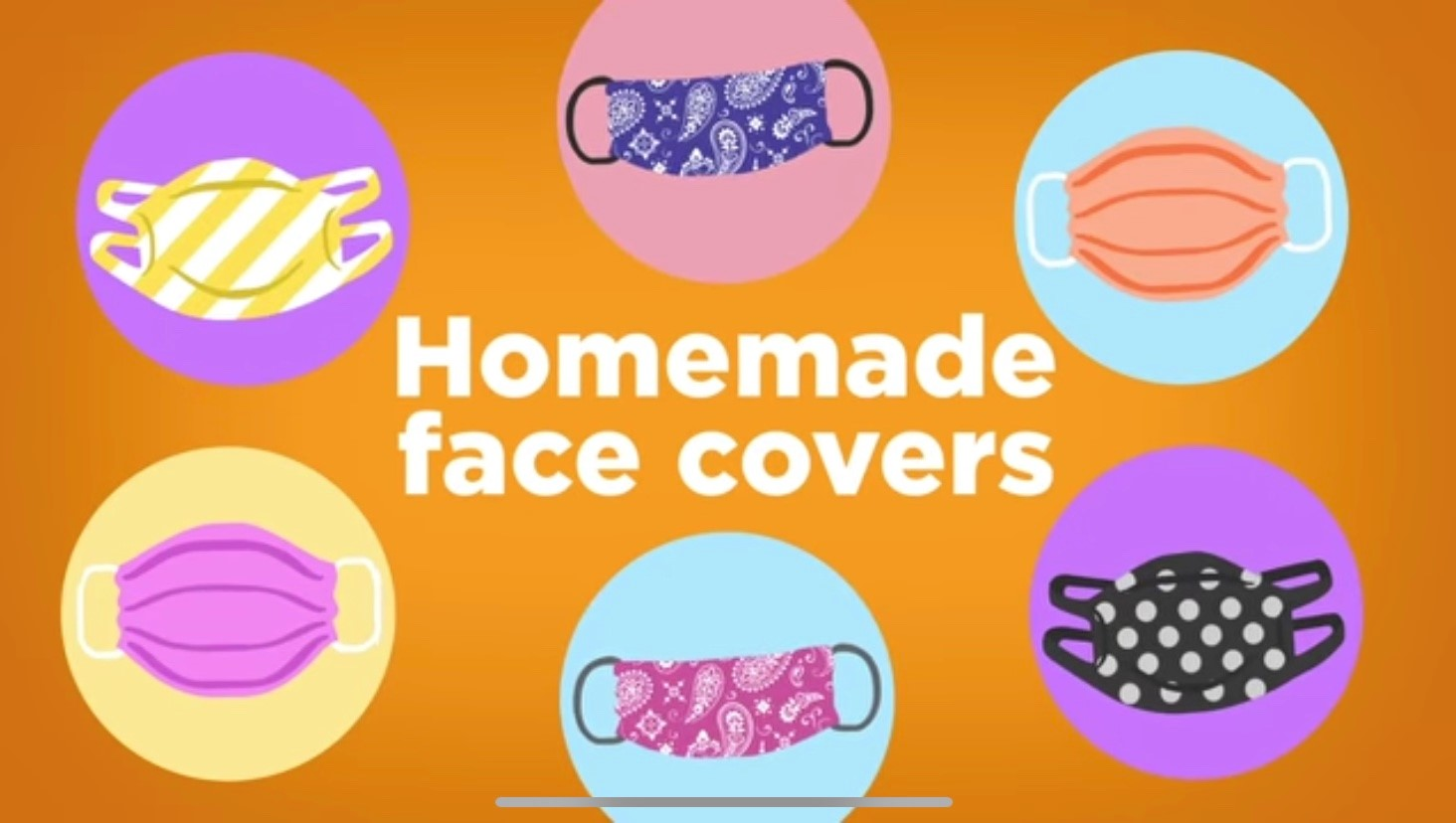 Homemade Face masks are worn over the nose and mouth and can be made with t-shirts and bandannas.