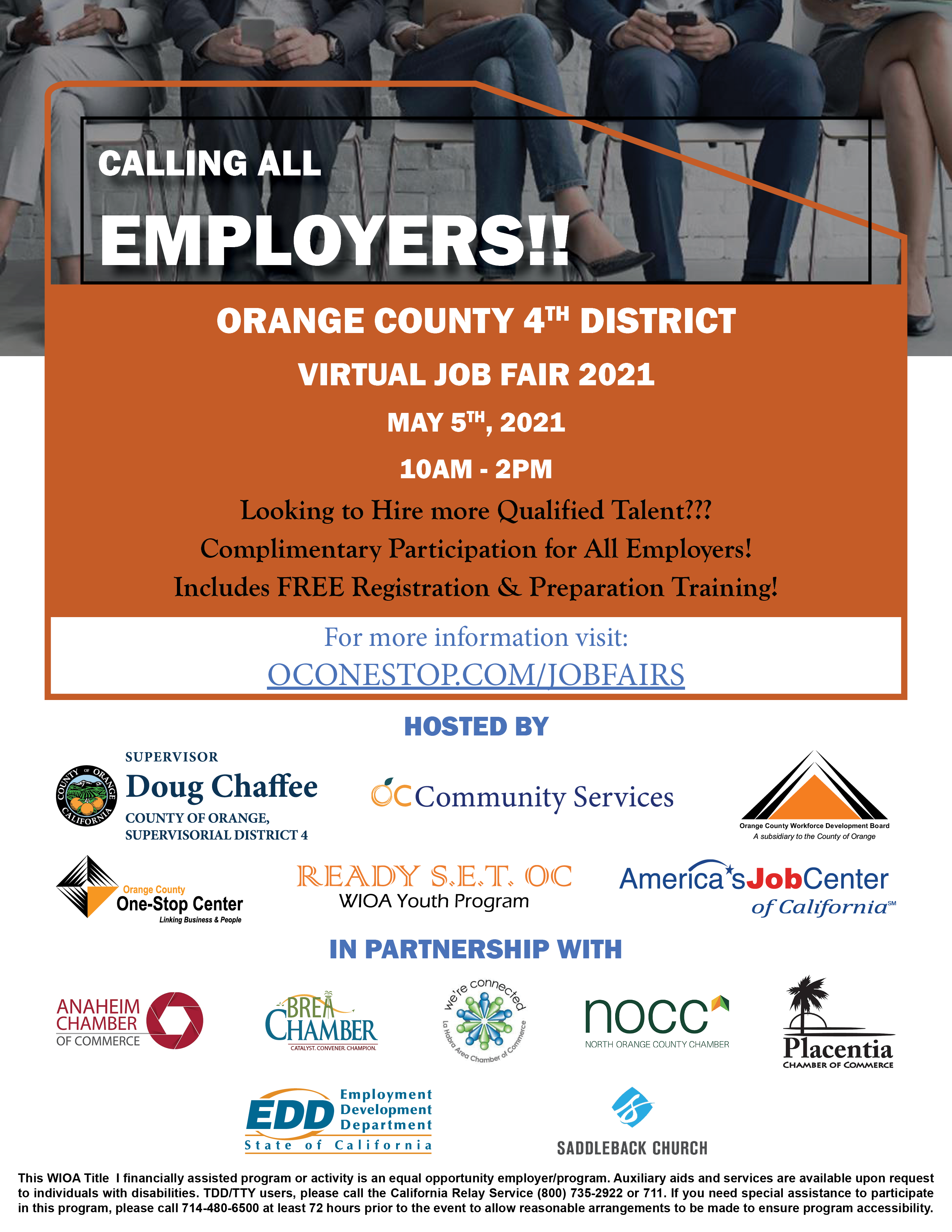 Attention Employers:  Meet Job Seekers at the Fourth District Virtual Job Fair on May 5, 2021 from 10 AM - 2 PM. Visit www.oconestop.com/jobfairs for free registration and preparation training.