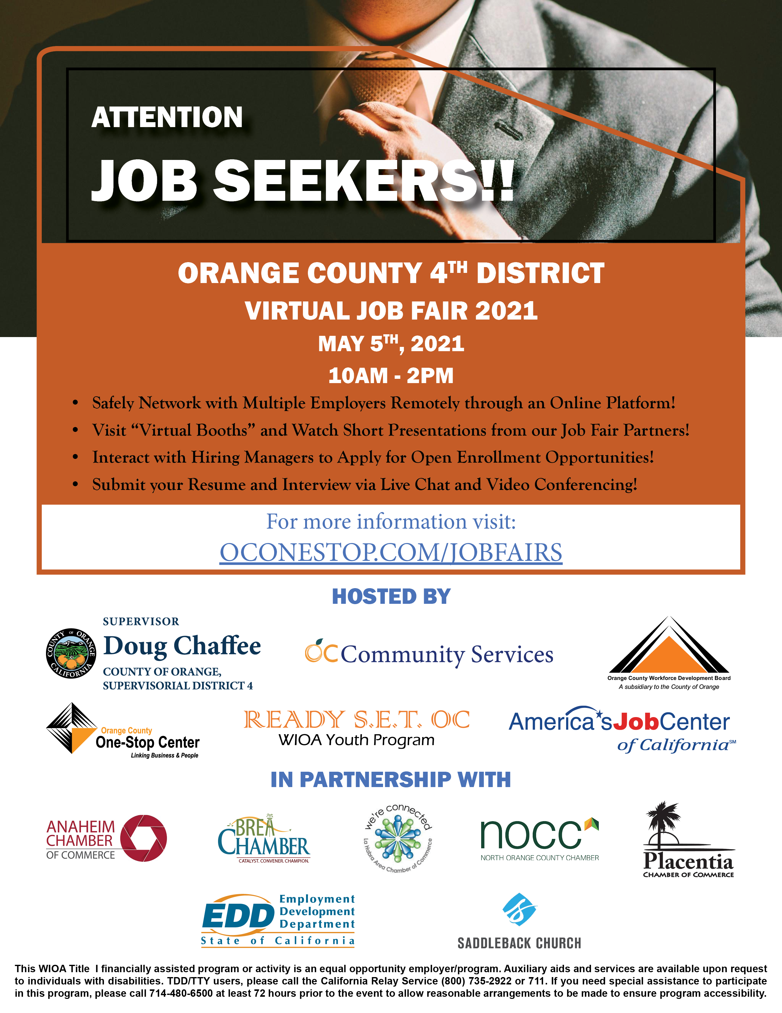Attention Job Seekers:  Meet Employers at the Fourth District Virtual Job Fair on May 5, 2021 from 10 AM - 2 PM. Visit www.oconestop.com/jobfairs for free registration and preparation training.